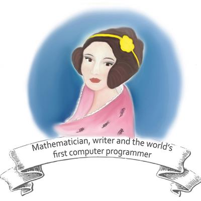 "Ada Lovelace drawing with the caption, ""Mathematician, writer and the world's first programmer"""