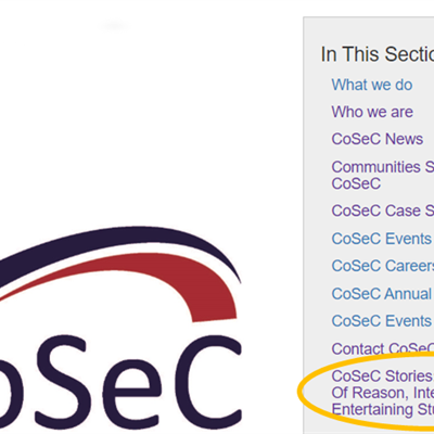 CoSec logo and highlighting new scientific tales section