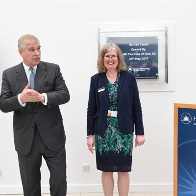HRH the Duke of York, with Alison Kennedy, Director, Hartree Centre, at the official opening of the Hartree Centre Building