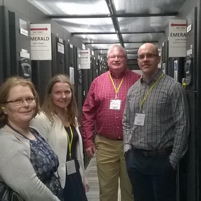 Research Software Engineering Leaders, Catherine Jones, Alys Brett, David Bernholdt and Ian Cosden at STFC's Data Centre