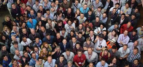 Group photo of attendees at the annual Research Software Engineers' Conference