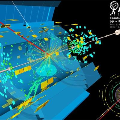 Detection of a candidate event display in the Large Hadron Collider at CERN